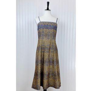 Peruvian Connection •. Gray Tan Print A-line Dress